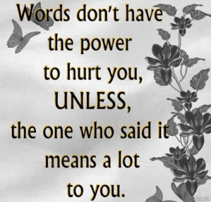 Words don't have the power to hurt you unless the one who it means a ...