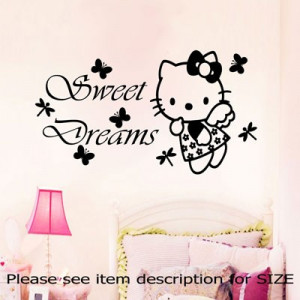 HELLO KITTY Sweet Dreams Wall Quote Disney fairy Stickers Decal Girl's ...