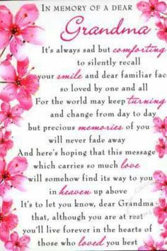 Grandmother poem... Miss you grandmom More