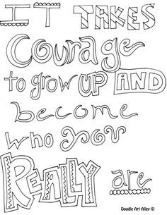 Doodle coloring pages with quotes & inspirational words.