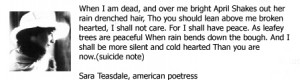 Note By Sara Teasdale - American Poetress - Famous Suicide Quotes