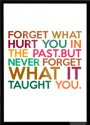 ... hurt you in the past.but never forget what it taught you. Framed Quote