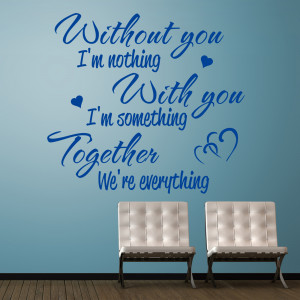 Blue Without You I'm Nothing wall sticker in a hallway