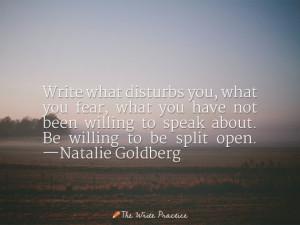 Write what disturbs you. Natalie Goldberg quote