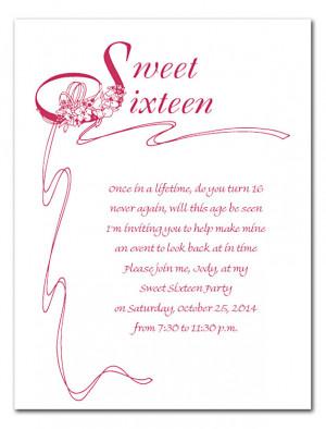 Sweet 16 Birthday Invitation Wording