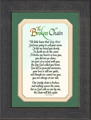 Broken Chain Sympathy Poem Framed 6