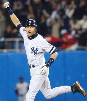 Derek Jeter celebrates after the final out of the 2000 World Series