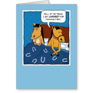 Funny anniversary card: Horses in Bed