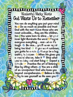 God Wants Us to Remember More