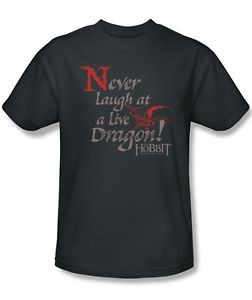 Details about The Hobbit Never Laugh At A Live Dragon Quote T-Shirt ...