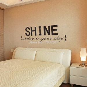 ... Wall Decals SHINE Quotes Painting Wall Art Bedroom Decor Wall Stickers