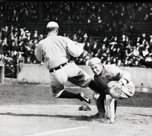 Ty Cobb slides into home, 1920