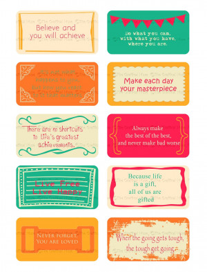 Whimsical Printable Lunch Box Note Cards With Inspirational Quotes