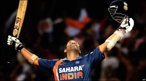 Sachin Tendulkar celebrates his landmark double century