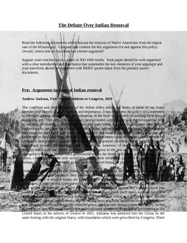 Indian Removal Act of 1830 Writing/Essay Assignment