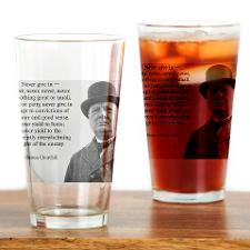 Never Give In Churchill Quote Drinking Glass for