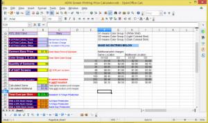 Actual screenshot of the ASPA Screen Printing Price Calculator...
