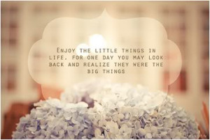 Enjoy the little things in life, for one day you may look back and ...
