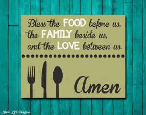Dinner Blessing - Bless the Food - Family Blessings Wall Art - Dining ...