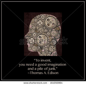 Human head in portrait filled with gears and a quote from Thomas ...