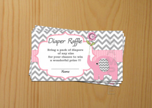 Shower games Elephant Baby Shower Diaper Raffle Ticket Diaper Raffle ...