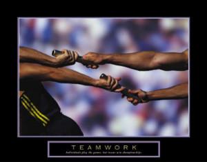 Teamwork Running Relay Race Baton Motivational Poster Print - 28x22