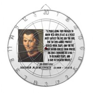 Machiavelli Prince Imitate Fox Lion Advice Quote Dartboard