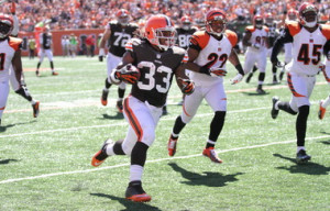 ... Browns' touchdown during Cleveland's 34-27 loss to the Bengals in