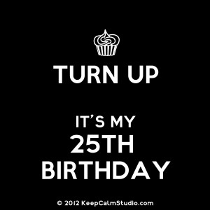 Turn Up Its My 25th Birthday Design On T Shirt Poster Mug And