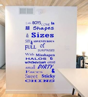 Little Boys Quote Funny Kids Large Vinyl Wall Art - 60cm x 100cm - 10 ...