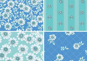 set of 4 vector floral patterns in in blue and green color scheme.