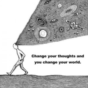 Change your thoughts and you change your world picture quote