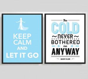 Frozen Poster Let it Go - Queen Elsa - Typography Print, Quote ...