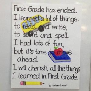 End of the school year. First Grade poem