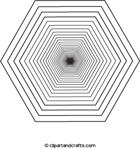 3D Design Hexagon Black Hole Coloring Page