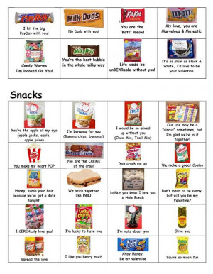 many cute sayings for all sorts of snacks and candy bars and things ...