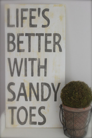 Beach Quote, Life's Better with Sandy Toes Wood Wall Art, Wood Sign ...