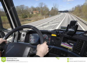 truckers view through windscreen when driving on multiple lane highway ...