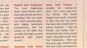... quotes by fictitious people in a booklet sent to Saskatchewan donors