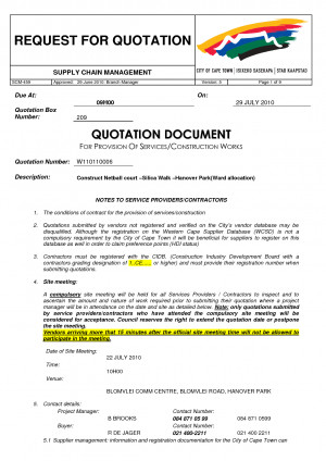 Construction Company Labour Cost Quotation Letter