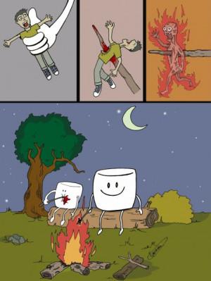 Funny Marshmallow Human Toast Cartoon Picture