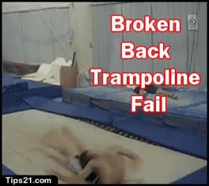 broken back trampoline fail funny gif images