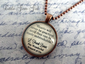 Wizard of Oz Book Quote Necklace - Tin Man Heart Quote Book Jewelry or ...