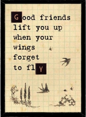 good friends lift you up when your wings forget to fly