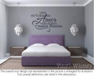 Vinyl Wall Art - Spanish Quote - Una Historia De Amor Verdadera Nunca ...