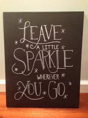 Inspirational Quote Canvas - Leave a Little Sparkle - Wall Art on Etsy ...