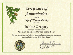 Thousand Oaks - Certificate of Appreciation Woman Business Owner of ...