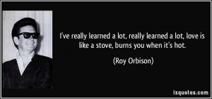 learned a lot, really learned a lot, love is like a stove, burns you ...