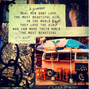 Romantic: Actress Margot Robbie posted a sweet quote to Instagram on ...