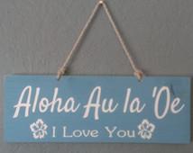 Wood Hawaiian I Love You sign / Hawaiian Sign